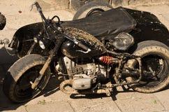 Black military motorcycle Stock Photos