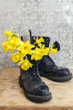 Black military muddy shoes with yellow narcissus Stock Photography