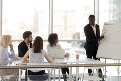Black millennial mentor present plan on flipchart to employees. Serious millennial black mentor present company business plan to diverse employees or workers stock photos