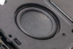 Black mini bluetooth speaker. Close up of black mini bluetooth speaker Stock Image