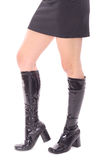 Black mini skirt & leather boots Stock Photo