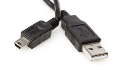 A black mini USB cable Stock Photos