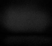 Black minimalist grainy wall background and black floor. Royalty Free Stock Image