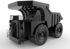 Black mining truck. 3D rendered illustration of a black mining truck. The composition is isolated on a white background with shadows vector illustration