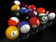 Black mirror pool. Billard balls. over black mirror Royalty Free Stock Images