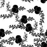 Black Mistletoe Vector Seamless Pattern royalty free stock images