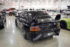 Black Mitsubishi Lancer Evolution VII in Crocus Expo 2012 Royalty Free Stock Photography