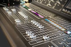 Mixing Board. Black Mixing Board in detail as Background Stock Photography