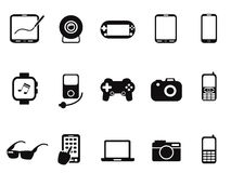 Black Mobile Devices Icon set Stock Photos