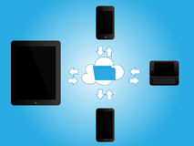 Black Mobile Devices Sharing Information Royalty Free Stock Images