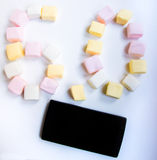 Black mobile and marshmallow android google 6.0 Stock Photos