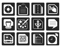 Black Mobile Phone, Computer and Internet Icons Stock Photography