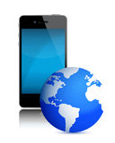 Black mobile phone and the Earth Royalty Free Stock Image