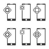 Black mobile phone icons. Stock Images