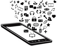 Black mobile phone and icons Stock Images