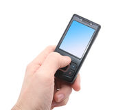 Black mobile phone in left hand Royalty Free Stock Photos