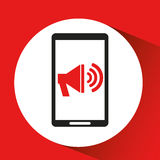 Black mobile phone megaphone marketing network. Vector illustration eps 10 Royalty Free Stock Photo