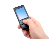 Black mobile phone in right hand Stock Photography