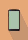 Black mobile phone. Typical back mobile phone on orange background Vector Illustration