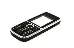 The black mobile phone on a white background Stock Photography