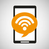Black mobile phone wifi connected network Royalty Free Stock Images