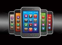 Black mobile smart phones Royalty Free Stock Photo