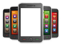 Black mobile smartphones - 3d render Royalty Free Stock Photo