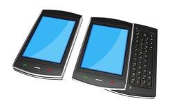 Black mobile smartphones - 3d render Stock Photos