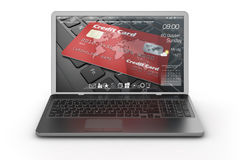 Black mobility laptop with interface. Royalty Free Stock Images