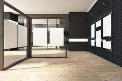 Black mock up frame gallery, art exhibition expo. Black brick banner gallery with a wooden floor and loft windows. Vertical empty posters hanging on glass and stock illustration