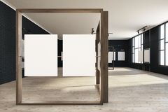 Black mock up poster gallery, art exhibition. Black brick wall poster gallery with a wooden floor and loft windows. Vertical empty posters hanging on glass and Stock Illustration
