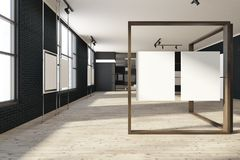 Black mock up poster gallery, art exhibition expo. Black brick poster gallery with a wooden floor and loft windows. Vertical empty posters hanging on glass and Royalty Free Illustration