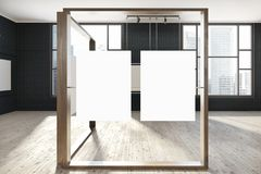 Black mock up poster gallery, art exhibition, loft. Black brick wall banner gallery with a wooden floor and loft windows. Vertical empty posters hanging on glass Royalty Free Illustration