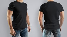 Black Mockup  for the design of clothes t-shirt. Young man, fron. T view and back. Template can be used for your design Royalty Free Stock Photography