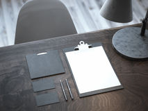 Black mockup on the wooden table. 3d rendering Royalty Free Stock Photography