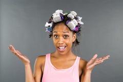 Black Model Applying Makeup Stock Photos