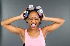 Black Model Applying Makeup Royalty Free Stock Photos