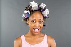 Black Model Applying Makeup royalty free stock photography