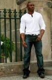 Black model outdoors Royalty Free Stock Photo