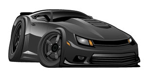 Black Modern American Muscle Car Illustration. Hot American modern muscle car cartoon illustration. Mean, low and black, aggressive stance, big tires and rims Stock Photo