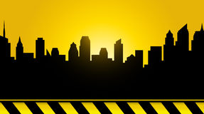 City background, sunset and construction Stock Photography