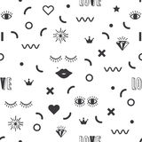 Black modern geometrical and fun symbol icons pattern on white background. Black silhouette modern geometrical and fun symbol icons pattern on white background Stock Illustration