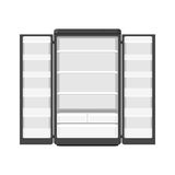 Black modern household appliances fridge with two doors isolated on white background. Electronic device refrigerator royalty free illustration