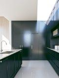 Black modern kitchen Royalty Free Stock Images