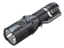 Black modern LED tactical flashlight Royalty Free Stock Image