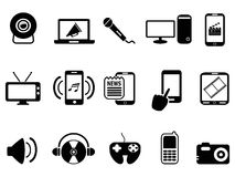 Black modern mobile media icons set. Isolated black modern mobile media icons set from white background Royalty Free Stock Images