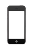 Black modern mobile smart phone with blank screen. Directly front view of a modern black mobile smart phone with blank screen isolated on white background. High Royalty Free Stock Images