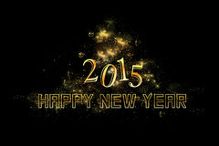 Black modern new year background. Happy new year 2015 background with golden letters, stars, lights Stock Images