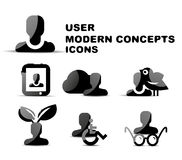 Black modern person concepts glossy icon set Royalty Free Stock Photo