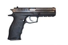 Black modern pistol close up Stock Images
